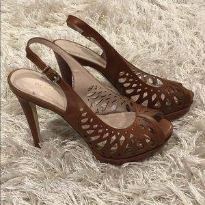 Peep toe sling back heels tan